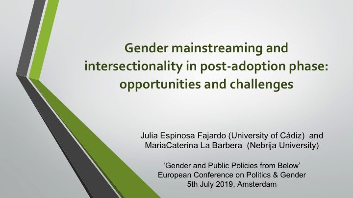 Gender mainstreaming and intersectionality in post-adoption phase: opportunities and challenges