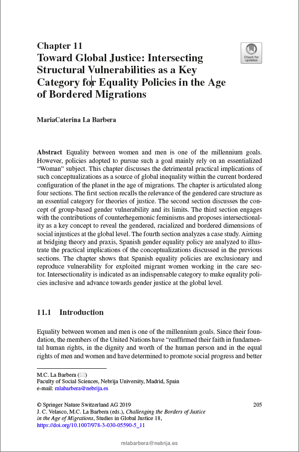 Toward Global Justice: Intersecting Structural Vulnerabilities as a Key Category for Equality Policies in the Age of Bordered Migrations