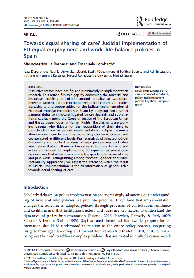 Towards equal sharing of care? Judicial implementation of EU equal employment and work–life balance policies in Spain